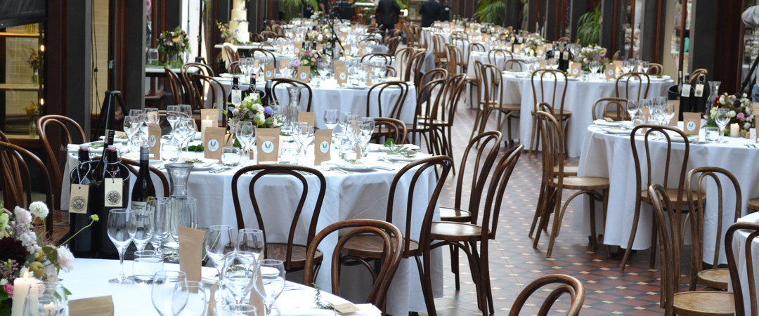 The Atrium Wedding Table Setting - The Tannery Wedding Venues Christchurch