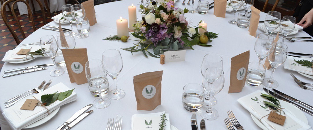 The Atrium Wedding Table Setting - The Tannery Wedding Venues