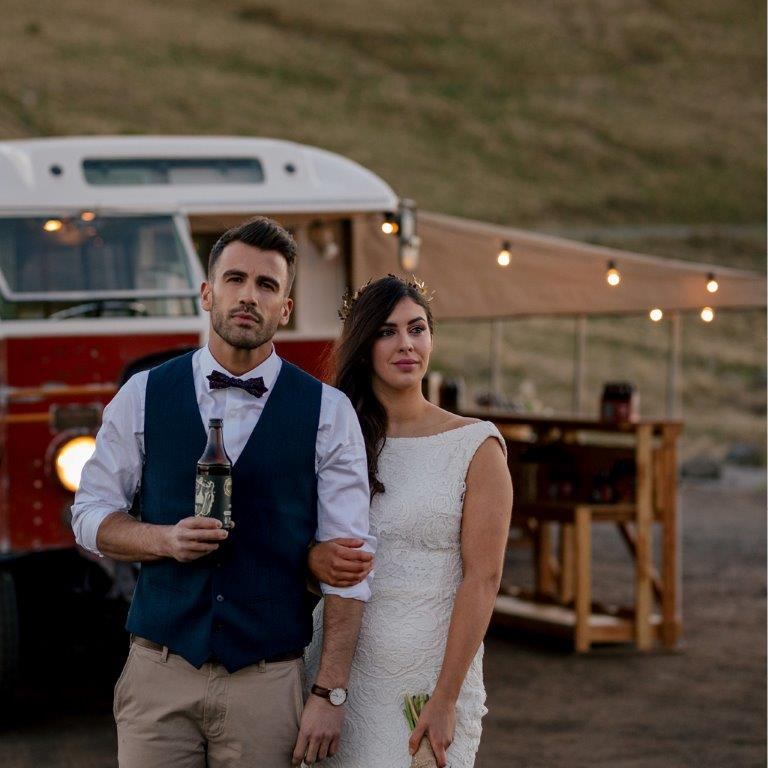 Bridge and groom with the Cassels Beer Bus